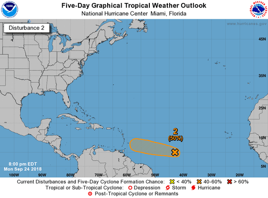 The remnants of Tropical Storm Kirk have a 50 percent chance of redeveloping as of 8 p.m. Monday, Sept. 24, 2018.