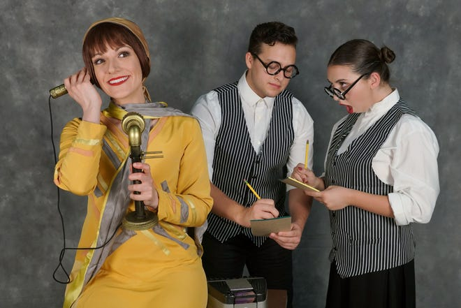 """Colette Peters as Millie Dillmount, with Sophia Fox and Aydan Peña as stenographers, in """"Thoroughly Modern Millie,"""" on stage in Simi Valley through Oct. 21."""