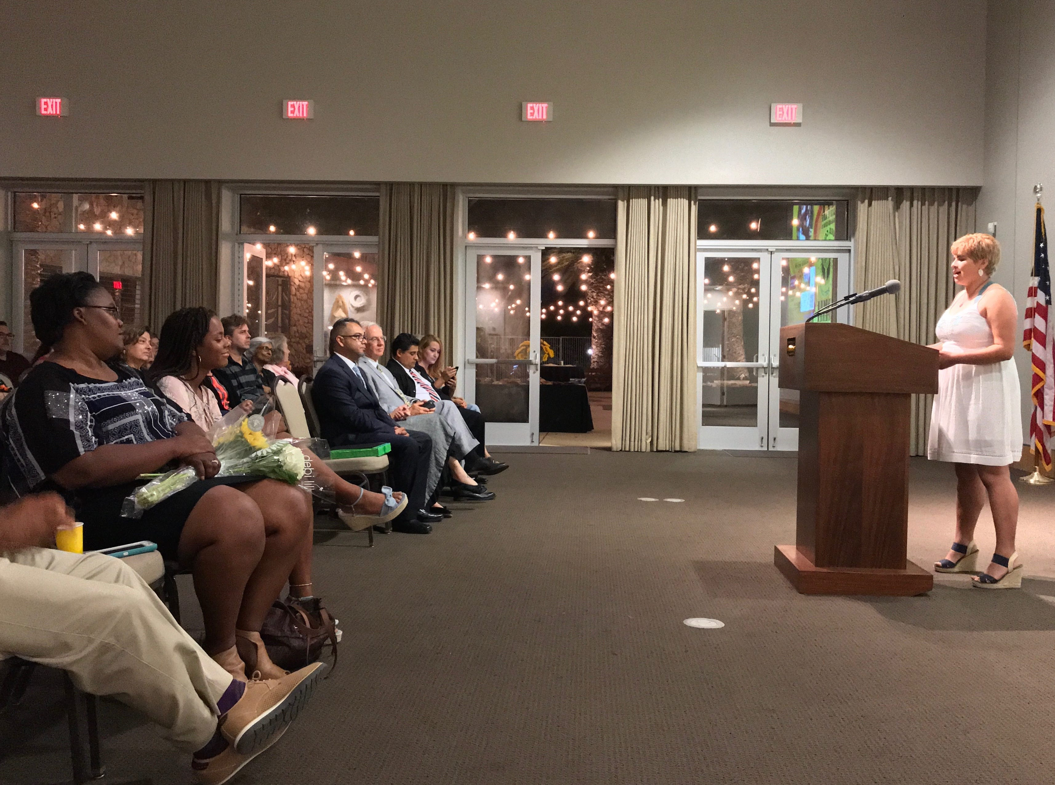 Genesis Perez, 17, of Channel Islands High School in Oxnard and a finalist for youth poet laureate, reads one of her poems at the Museum of Ventura County.