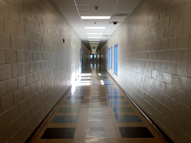 Light shines into a hallway inside Ventura County juvenile hall.