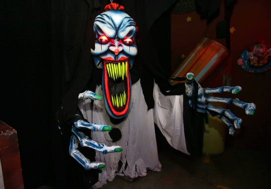 A giant killer clown named Mr. Tickles is a new addition to the Fun House attraction at this year's Reign of Terror at the Janss Marketplace in Thousand Oaks.