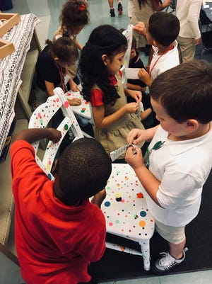 Students at Winslow Elementary School, inspired by the art of Yayoi Kusama, created a Dot Installation.