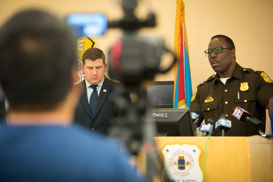 Lead investigator Charles Levy stands next to chief of police Col. Vaughn M. Bond, Jr. as the investigation unit announce the identity of a suspect responsible for the 2017 kidnappings, robberies and sexual assaults  which occurred at the Top Of The Hill Apartments, Arundel Apartments, and the Bluffs Apartments, as Kwesi Hudson.