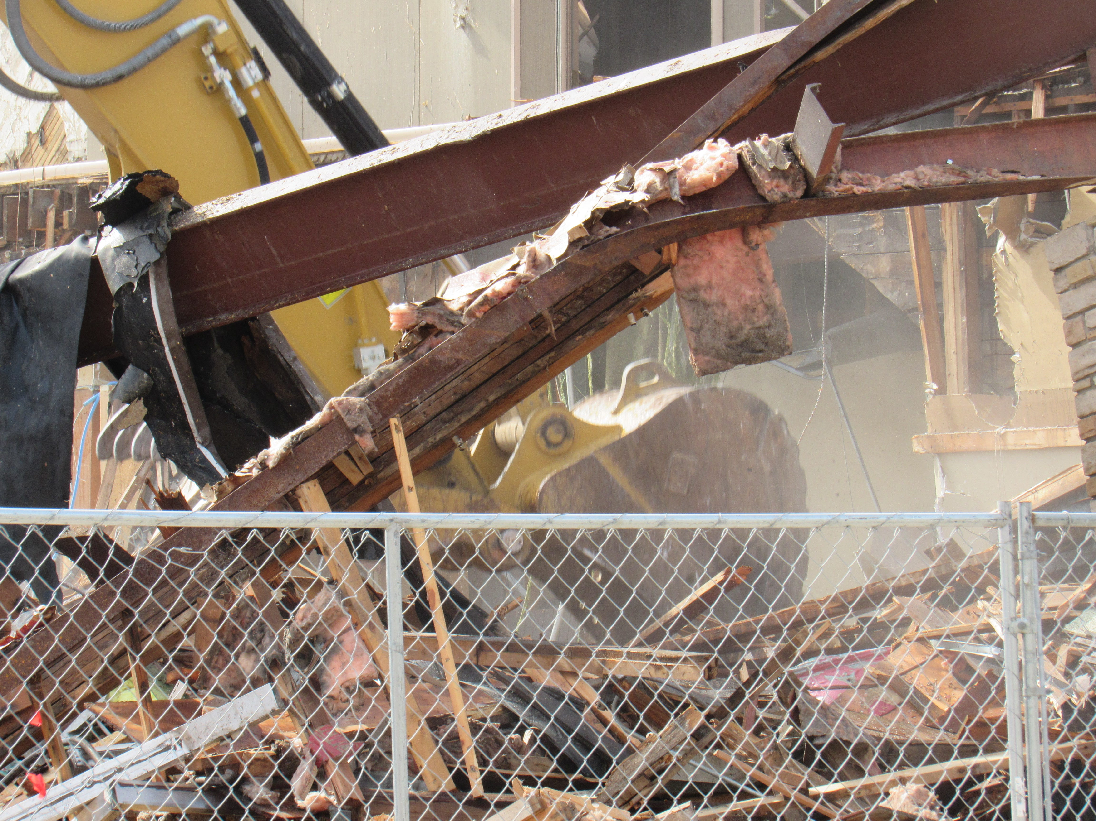 Crews continue to tear down the former Church's Drug Store building at the corner of West Grand Avenue and Third Avenue South in downtown Wisconsin Rapids on Monday, Sept. 24, 2018. The Key City Hotel operated in the building from 1884 to the early 1900s. Then Sam Church ran it as a drug store from 1904 until it closed in 1993. It became a video archery business called Boone's Archery in 2000 and then Bowe's Archery in 2001.