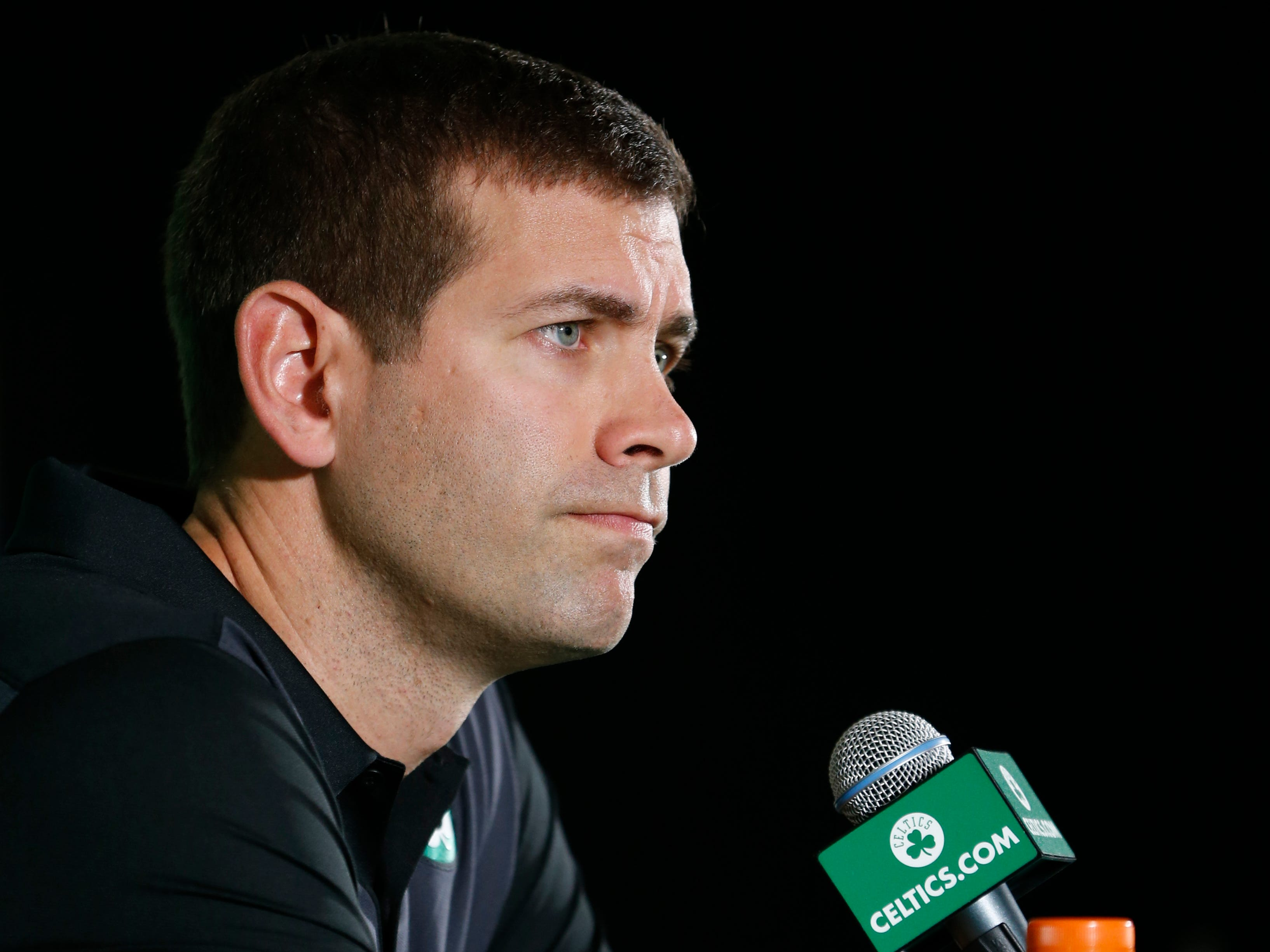 Boston Celtics head coach Brad Stevens during media day at High Output Studios.