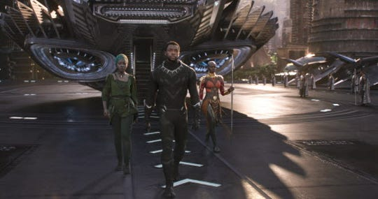 """""""Black Panther"""" and actors Chadwick Boseman and Danai Gurira, left, are People's Choice Awards nominees."""