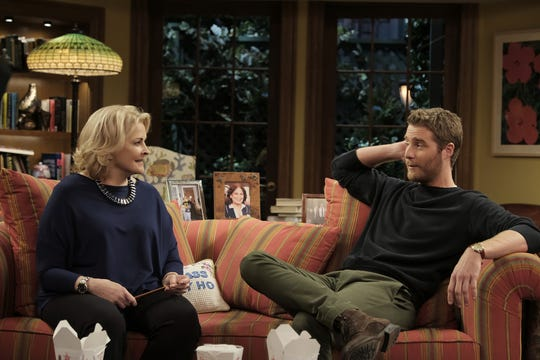 """Candice Bergen and Jake McDorman, who plays Murphy's grown-up son Avery, in the """"Murphy Brown"""" revival."""