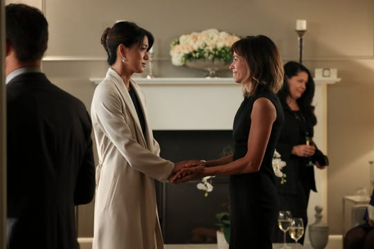 "Grace Park and Stephanie Szostak in ""A Million Little Things."""