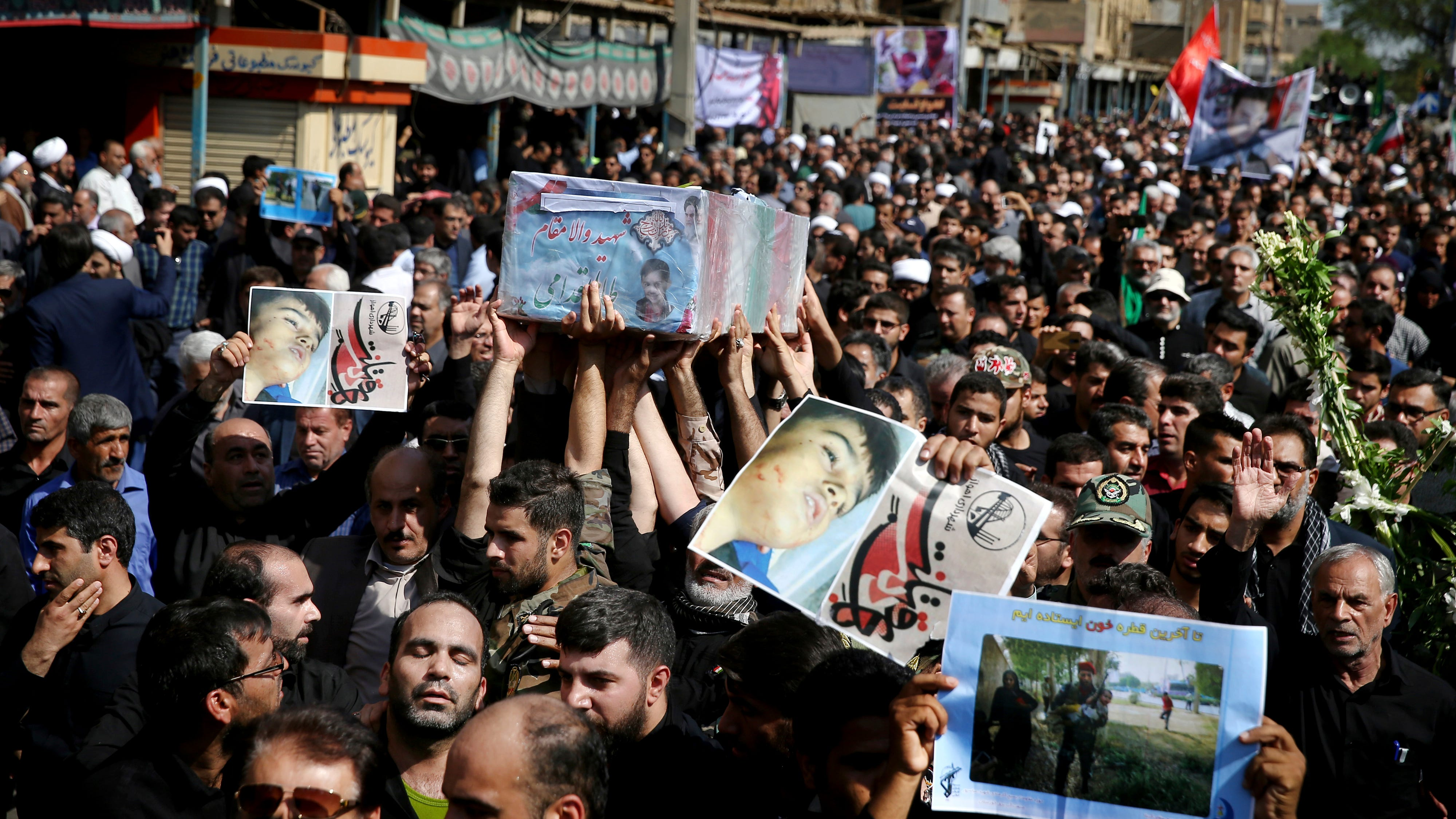 Funerals were held for victims of a weekend terror attack in Ahvaz, as the nation's Revolutionary Guard warned of revenge against the U.S. and Israel.