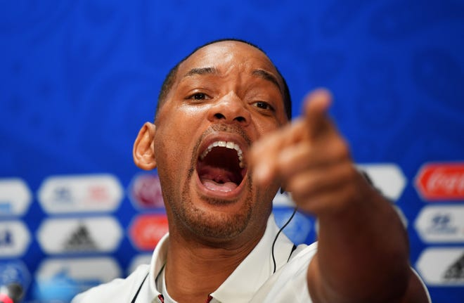 Will Smith reacts at a closing ceremony press conference during the 2018 FIFA World Cup at Luzhniki Stadium on July 13, 2018, in Moscow.