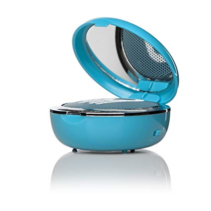 Not Bluetooth, but this cute speaker doubles as a compact mirror for applying makeup.