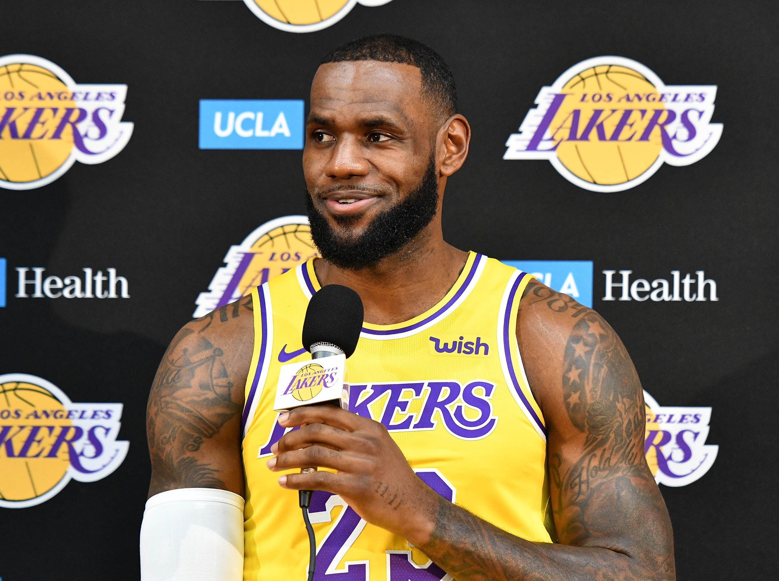LeBron James attends his first NBA Media Day as a member of the Los Angeles Lakers.