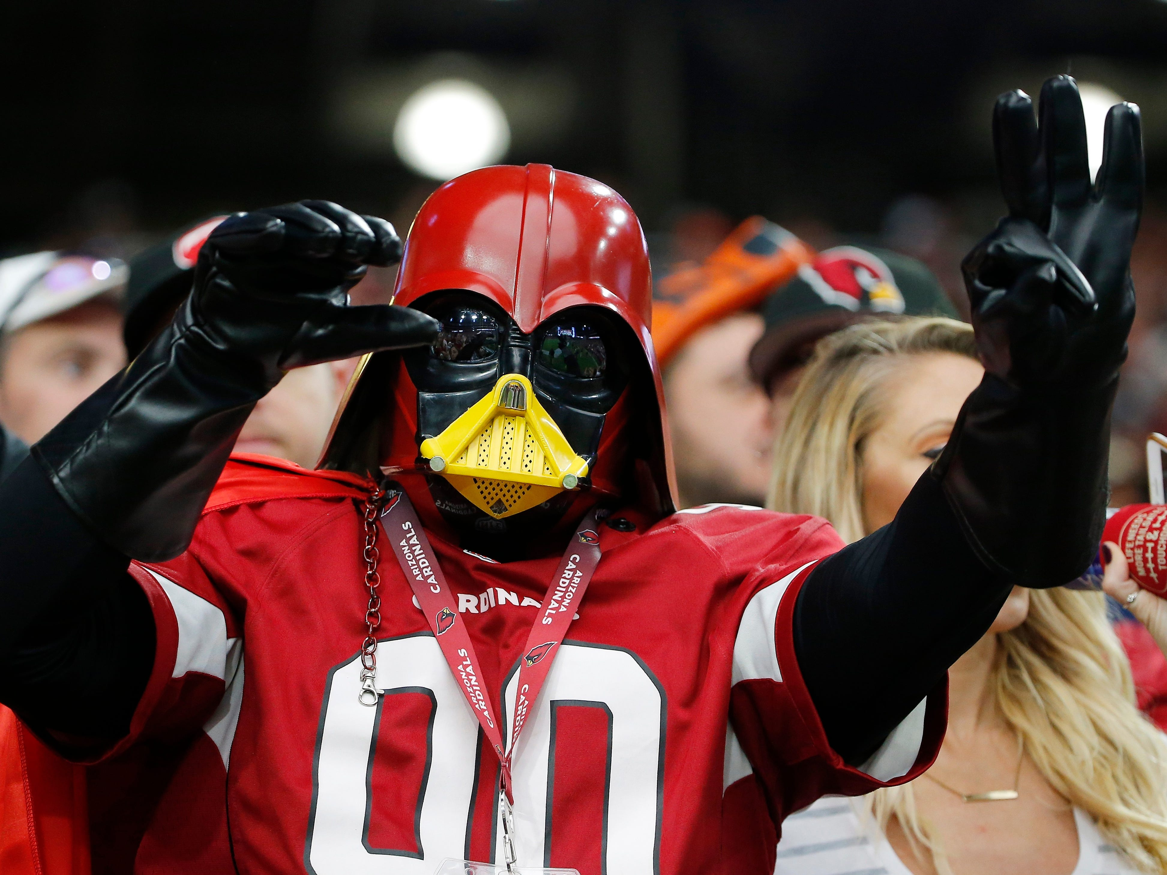 An Arizona Cardinals fan cheers on his team during the second half against the Chicago Bears.