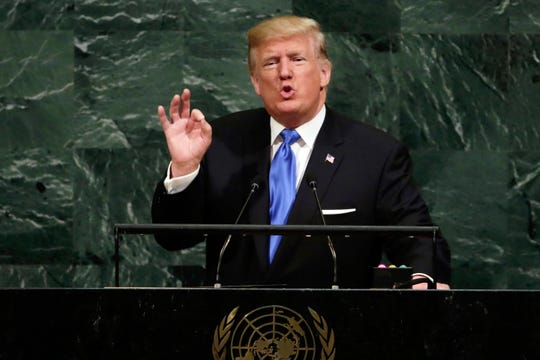 FILE - In this Sept. 19, 2017 file photo, U.S. President Donald Trump addresses the 72nd session of the United Nations General Assembly, at U.N. headquarters. Trump will be joined by other populist leaders at the 73rd General Assembly, including Poland's President Andrej Duda and Italy's Prime Minister Giuseppe Conte along with the foreign ministers of Hungary and Austria. (AP Photo/Richard Drew, File) ORG XMIT: NYR102