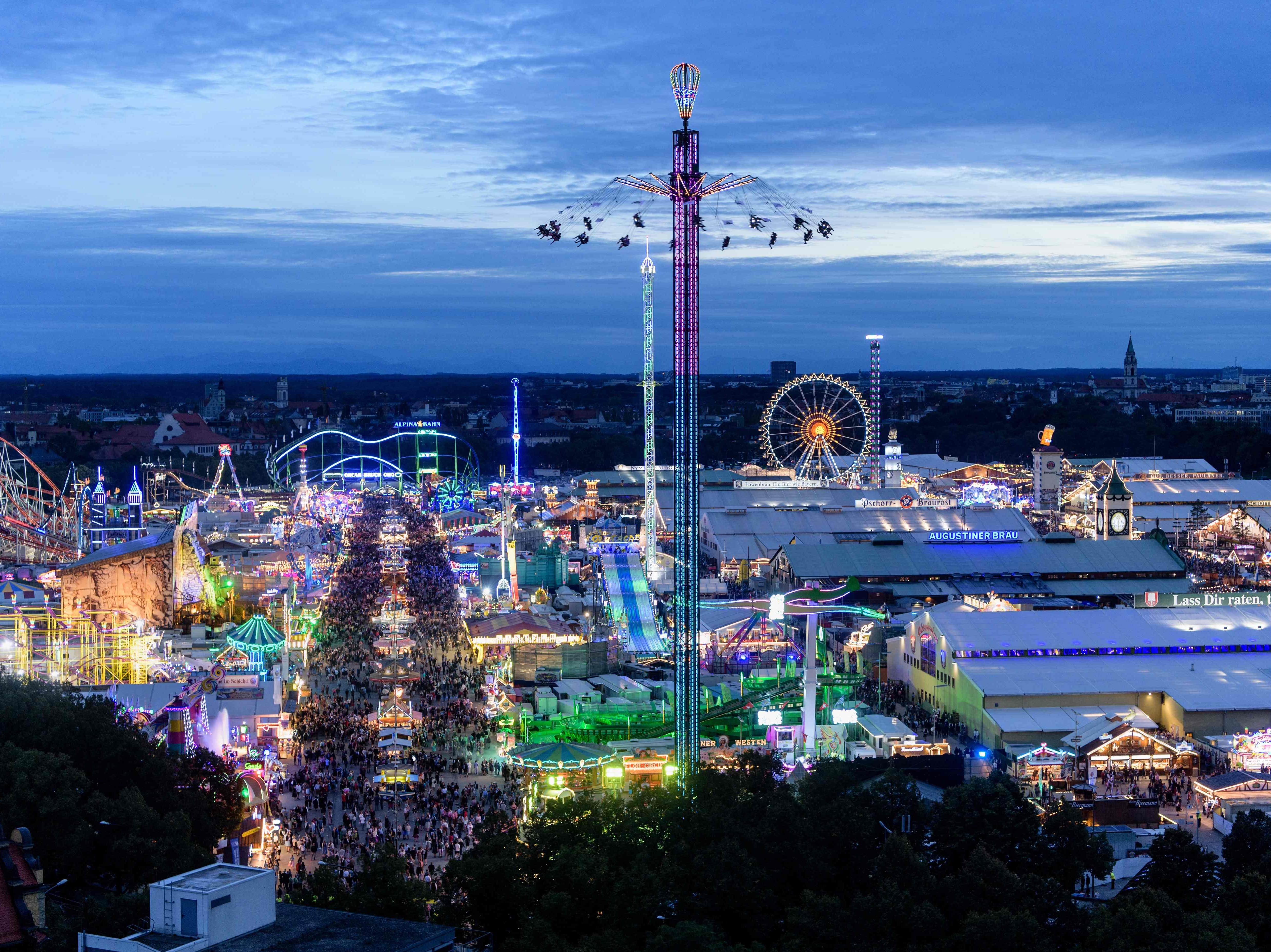 A picture taken on Sept. 22, 2018 shows a view of the Theresienwiese fair ground of the Oktoberfest beer festival in Munich, southern Germany.