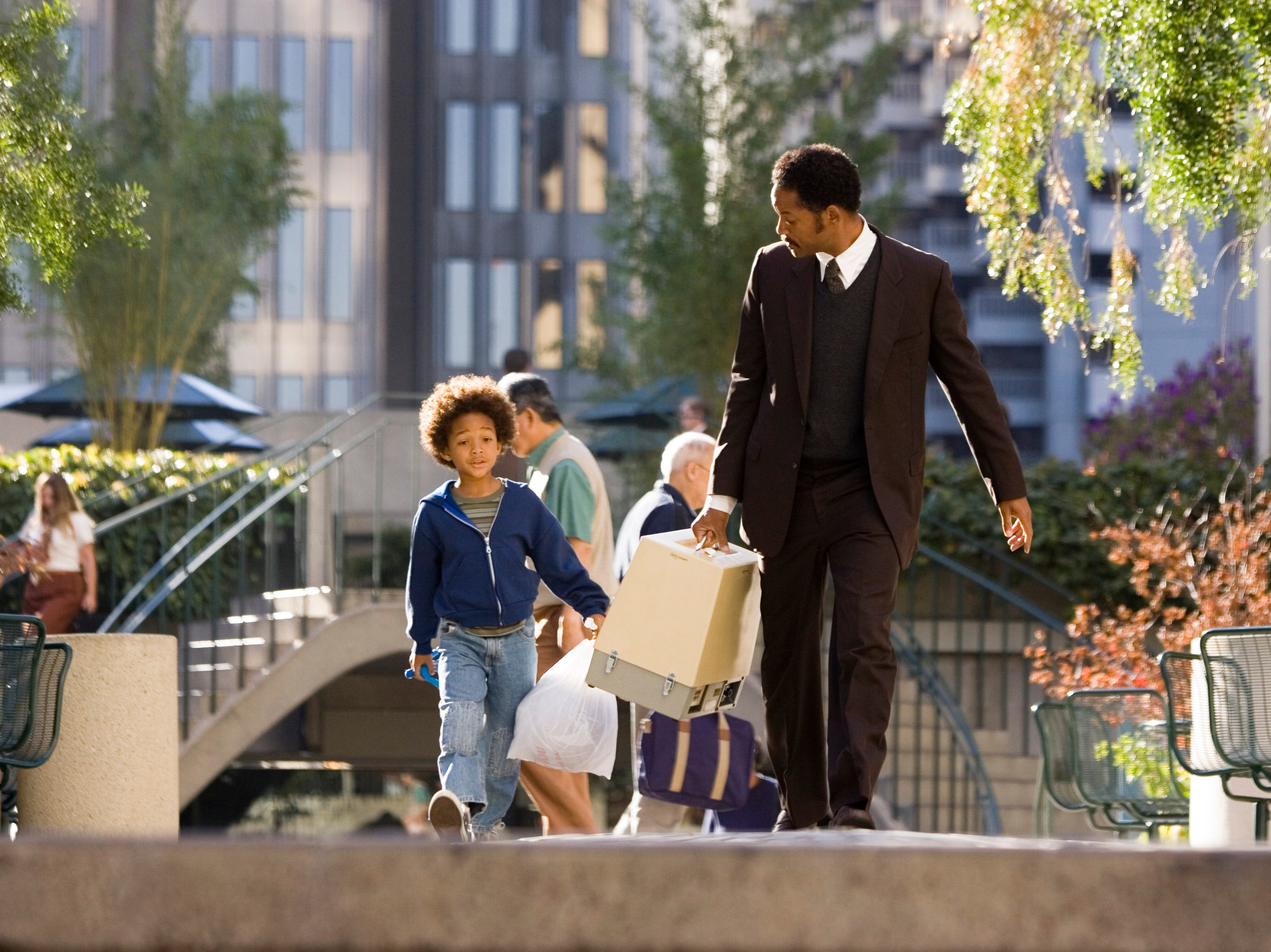 "Jaden Christopher Syre Smith and Will Smith in a scene from the motion picture ""The Pursuit of Happyness."""