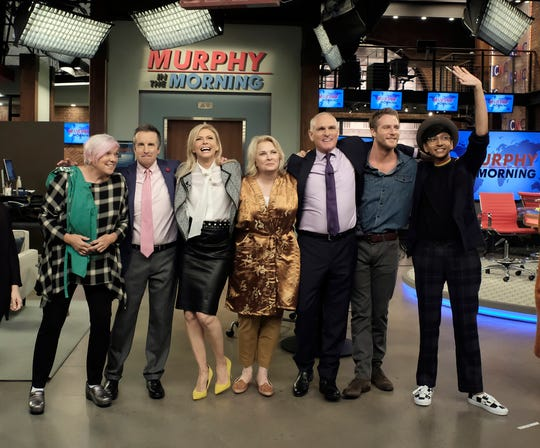 Candice Bergen returns as the broadcast news legend 'Murphy Brown' in the CBS revival. Pictured behind the scenes are Tyne Daly as Phyllis, Grant Shaud as Miles Silverberg, Faith Ford as Corky Sherwood, Bergen, Joe Regalbuto as Frank Fontana, Jake McDorman as Avery Brown, and Nik Dodani as Pat Patel.