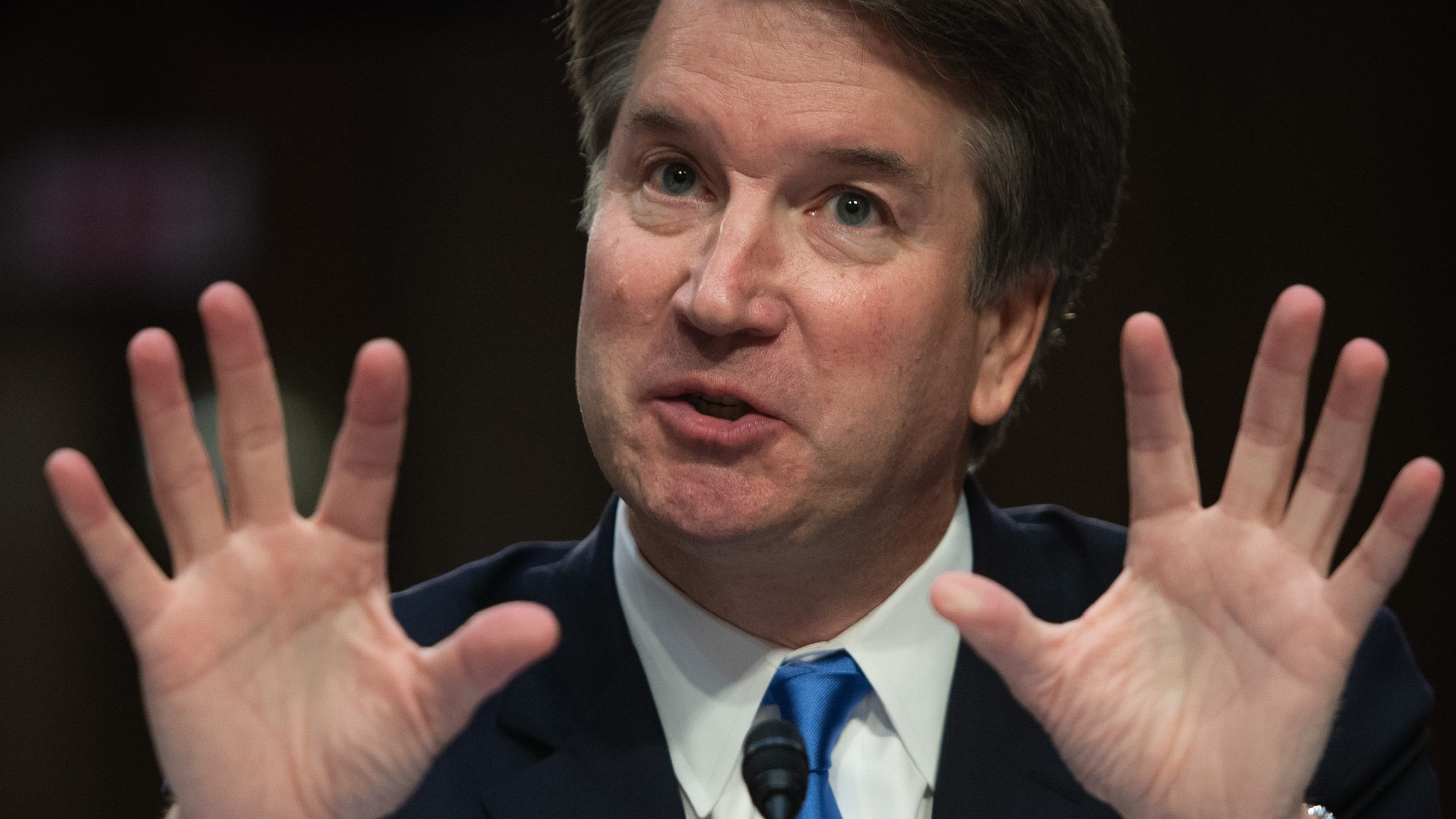 In this file photo taken on Sept. 5, Supreme Court nominee Brett Kavanaugh speaks on the second day of his confirmation hearing in front of the US Senate in Washington DC. Democrats in the US Senate are investigating allegations of sexual misconduct against President Donald Trump's nominee for the Supreme Court.