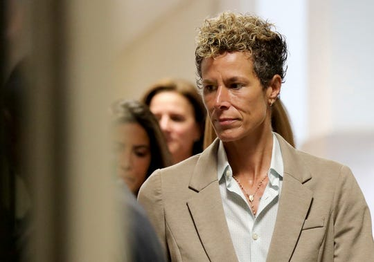 Andrea Constand, the woman at the center of Cosby's two sexual-assault trials, arrives at the courthouse for the first day of his sentencing hearing.