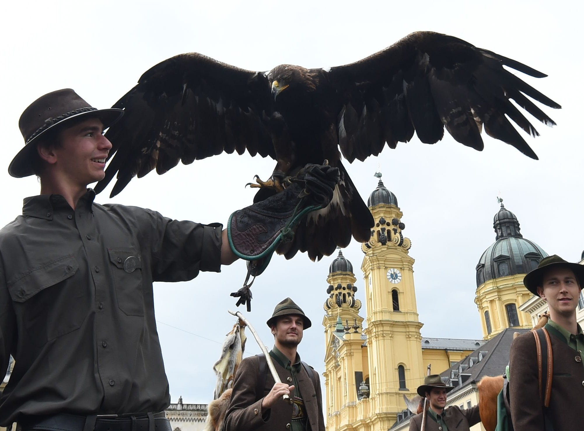 Huntsmen take part in the traditional costume and riflemen parade on the second day of the 185th Oktoberfest beer festival on Sept. 23, 2018 in Munich, southern Germany. The world's biggest beer festival runs until October 7, 2018.