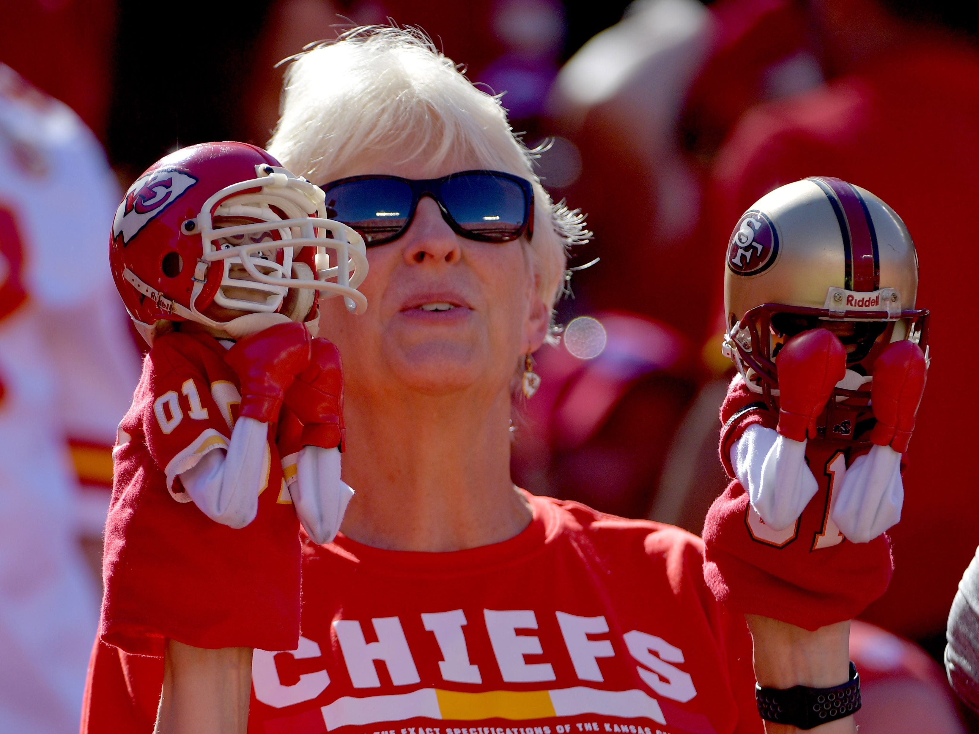 A Kansas City Chiefs fan shows her support during the second half against the San Francisco 49ers at Arrowhead Stadium.