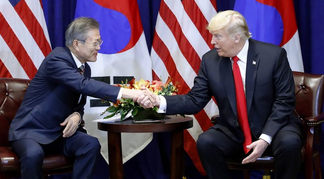 South Korean President Moon Jae-in (L) and US President Donald J. Trump meet at a New York hotel, in New York, USA, 24 September 2018. Moon is in New York to address the United Nations (UN) later this week.