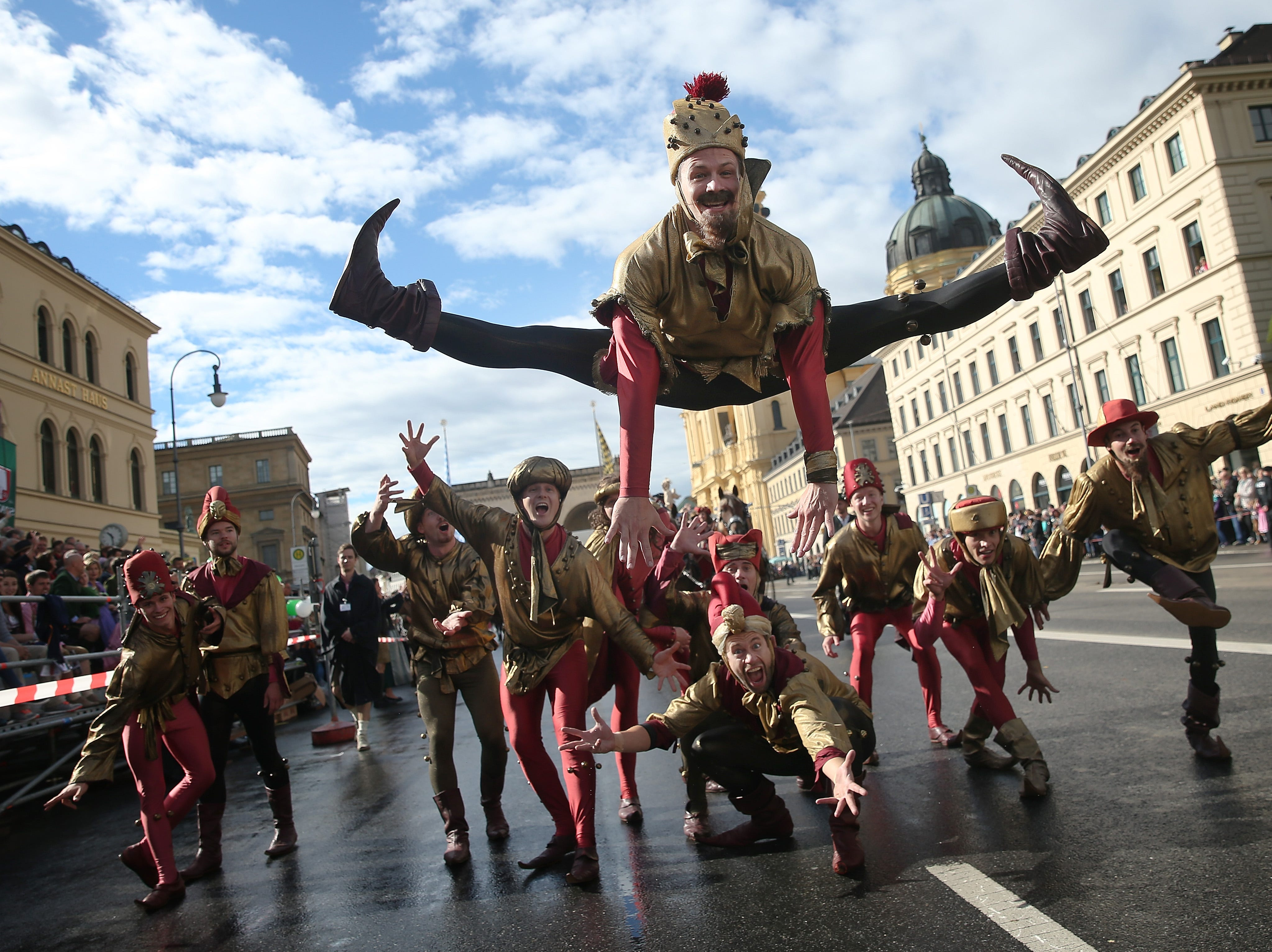 Jokers perform in the Oktoberfest parade of costumes of folk and crafts associations on the second day of the 2018 Oktoberfest beer festival on Sept. 23, 2018 in Munich, Germany.
