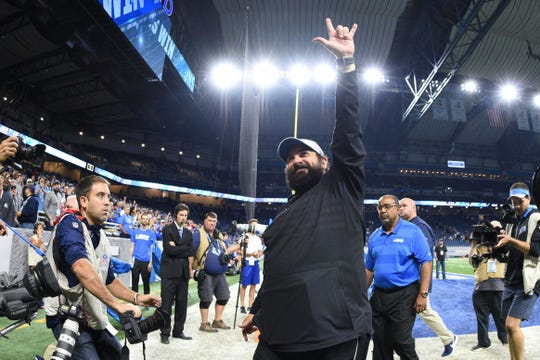 Lions head coach Matt Patricia celebrates after beating the Patriots  at Ford Field.