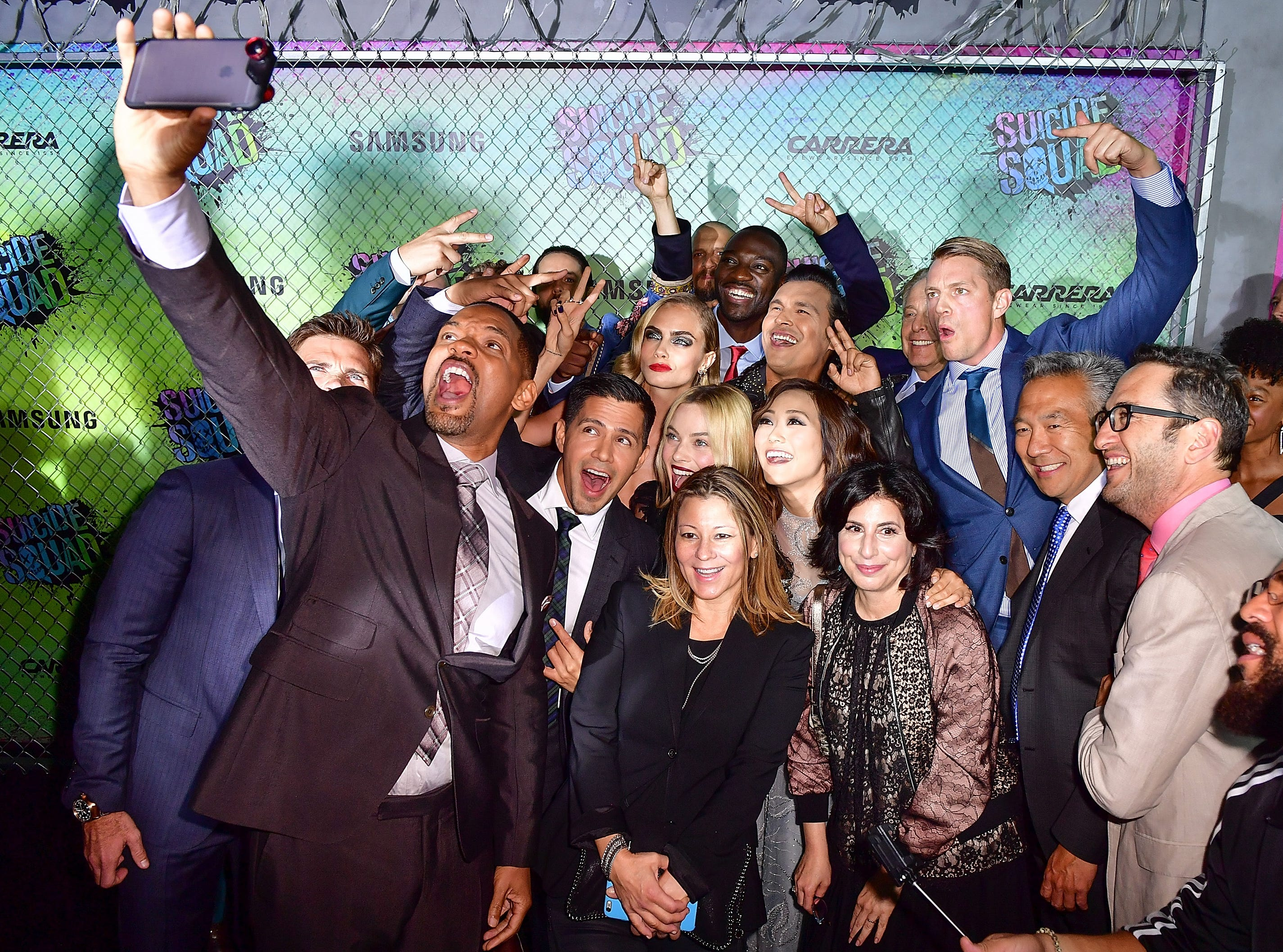 "Will Smith takes a selfie with the cast of ""Suicide Squad"" at the ""Suicide Squad"" premiere at The Beacon Theatre on August 1, 2016 in New York City."