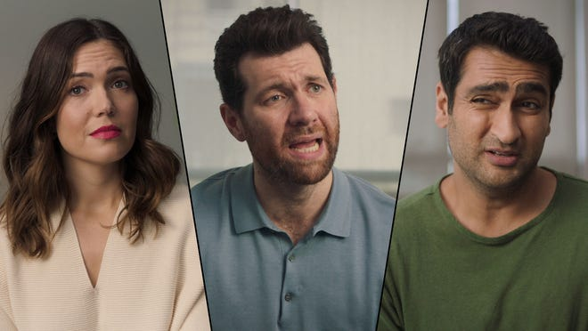 Mandy Moore, Billy Eichner and Kumail Nanjiani (right) are among the stars in a parody video designed to get out the (midterm) vote among young people.