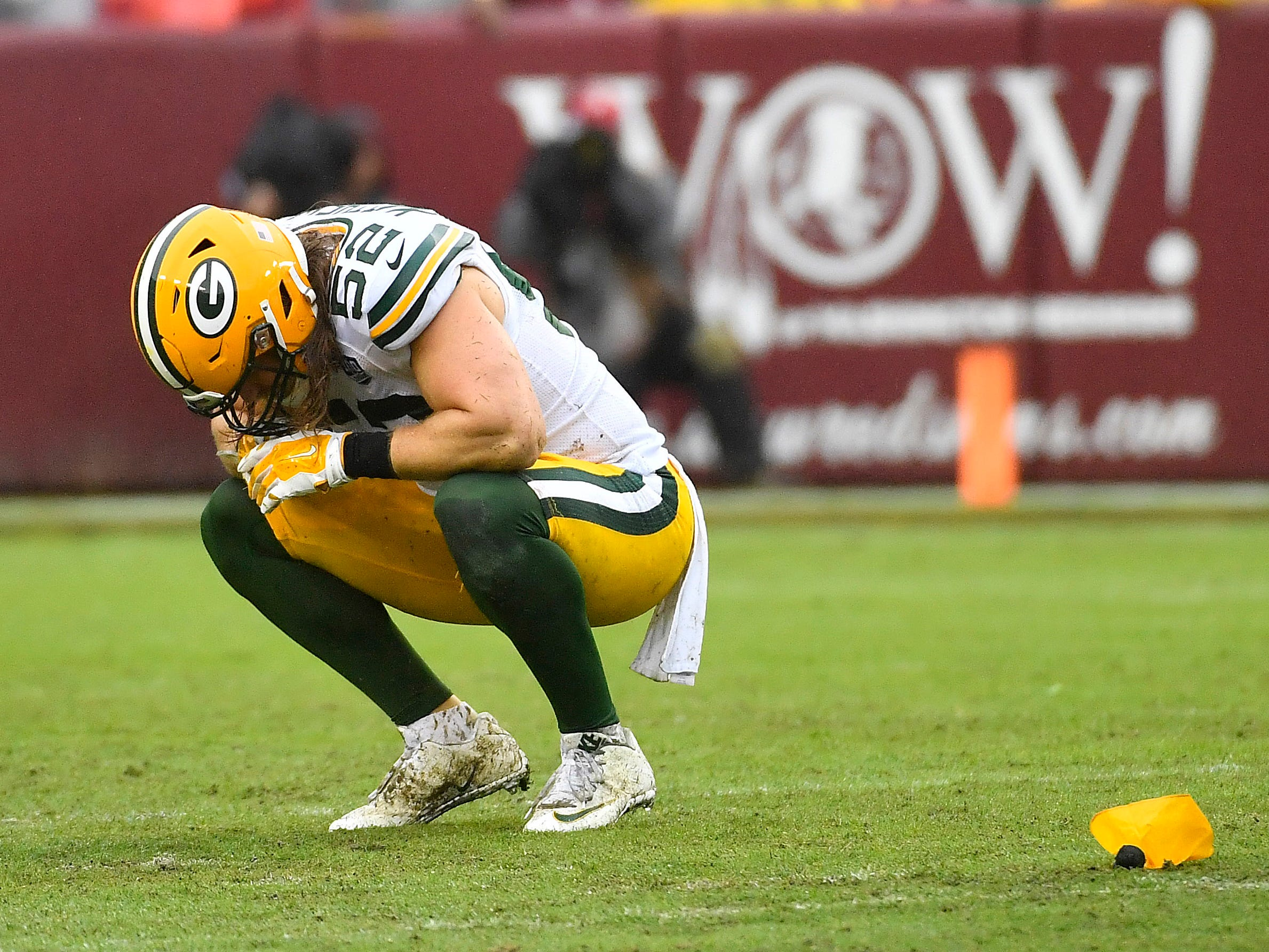 Green Bay Packers linebacker Clay Matthews (52) reacts after being called for a personal foul against the Washington Redskins during the second half at FedEx Field.