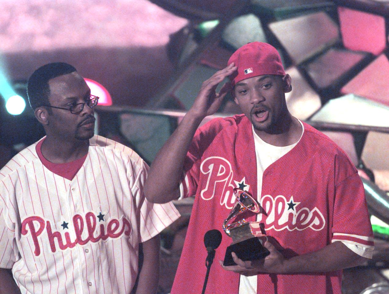 Rappers Jazzy Jeff, left, and Will Smith with their Grammy at the 40th annual Grammy Awards on Feb. 25, 1998.