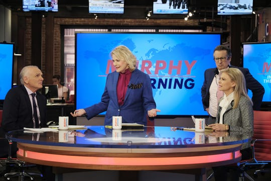 Joe Regalbuto (as Frank Fontana), Candice Bergen (as Murphy Brown), Grant Shaud (as Miles Silverberg) and Faith Ford (as Corky Sherwood) on the newsroom set of 'Murphy in the Morning' in the CBS revival of 1988-98 comedy 'Murphy Brown.'