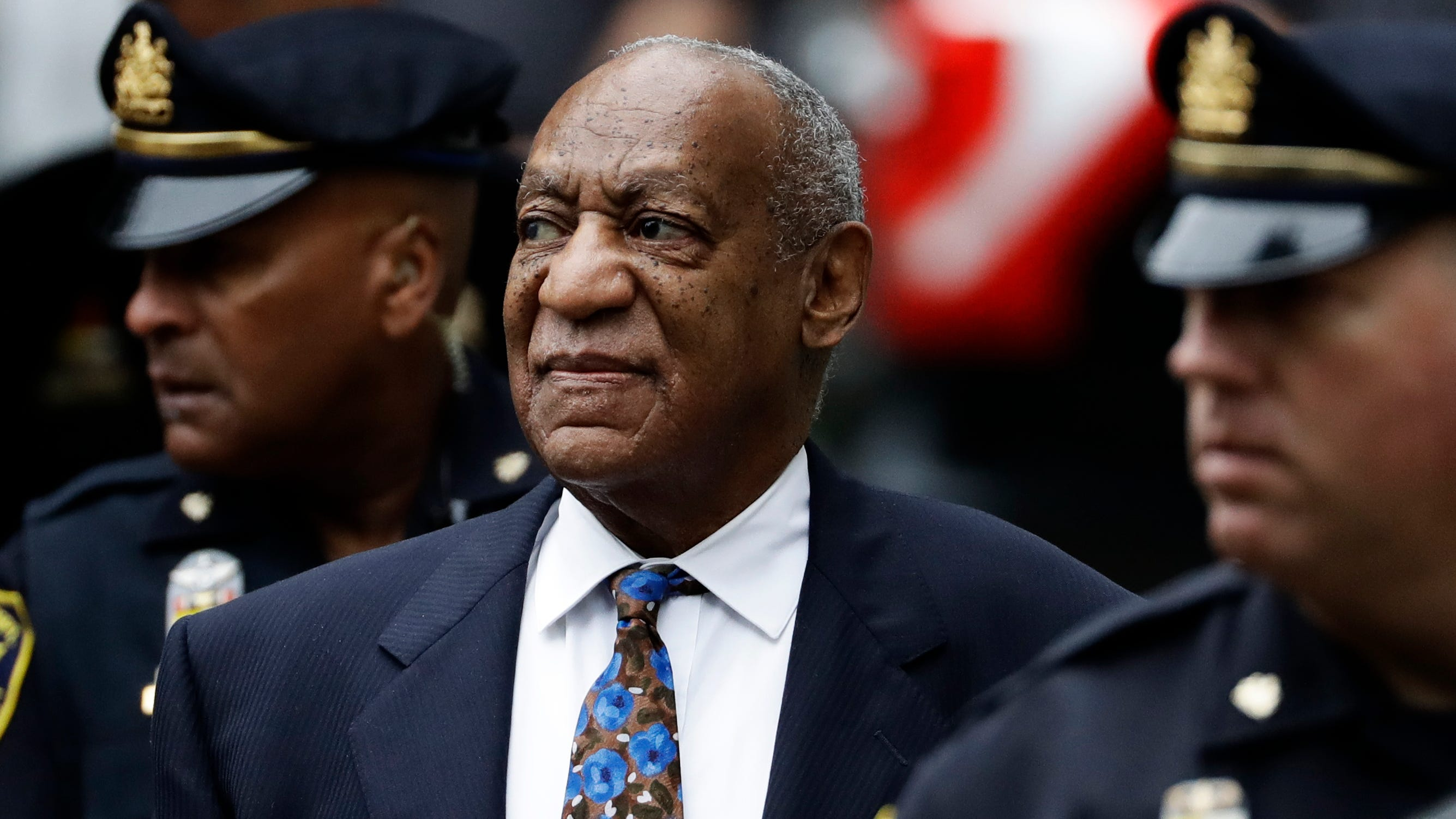 Bill Cosby arrives at the Montgomery County courthouse in Norristown, Pennysylvania, for the first day of his sentencing on indecent sexual-assault charges. He was convicted in April.