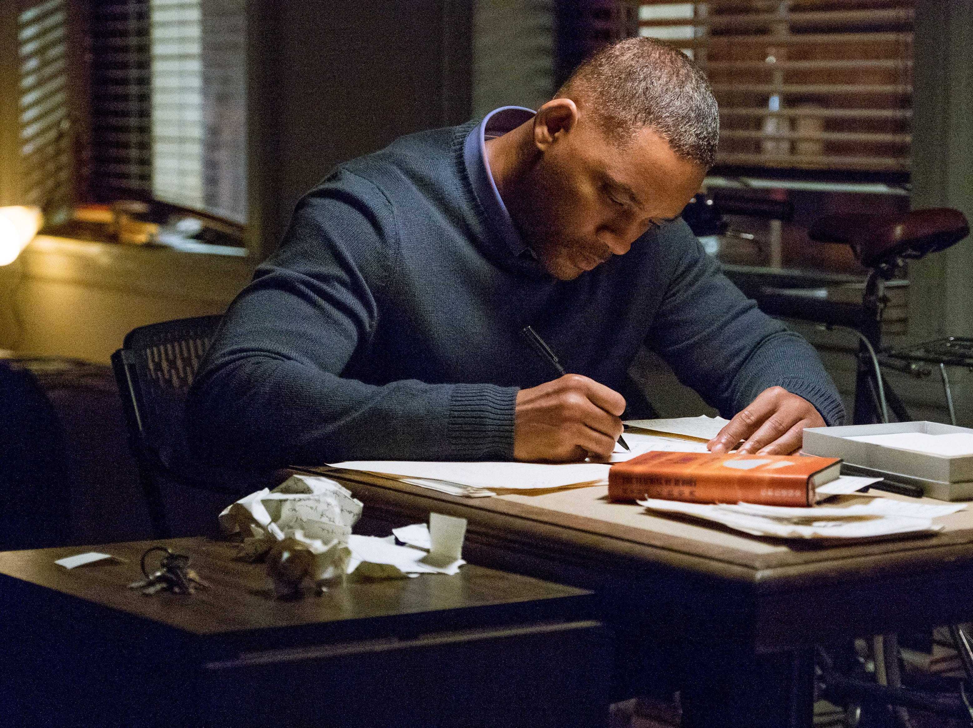 "Howard (Will Smith) writes cathartic letters to Time, Love and Death to come to grips with the loss of his daughter in ""Collateral Beauty."""