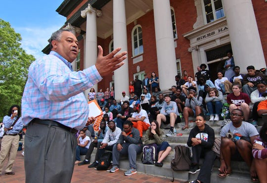 Max Allen, Chief of Staff at Clemson University, acknowledges the statement from each of the students from Clemson Five who spoke after ending a sit-in inside Sikes Hall administration building Friday April 15, 2016 in Clemson.  The Clemson Five, Ian Anderson, Me'khayla Williams, Rae-Nessa White, D.J. Smith, and A.D. Carson, were arrested for trespassing in Sikes Hall Thursday, following a sit it protest, over exclusion, racial insensitivity, and administrative inaction at the university in 2016.
