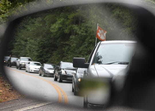 Traffic along West Queen Street between Pendleton and Clemson University is backed up at 9:54 a.m. near T. Ed Garrison Arena in Pendleton, heading toward a 12:30 p.m. Saturday football game at Clemson University in 2016.