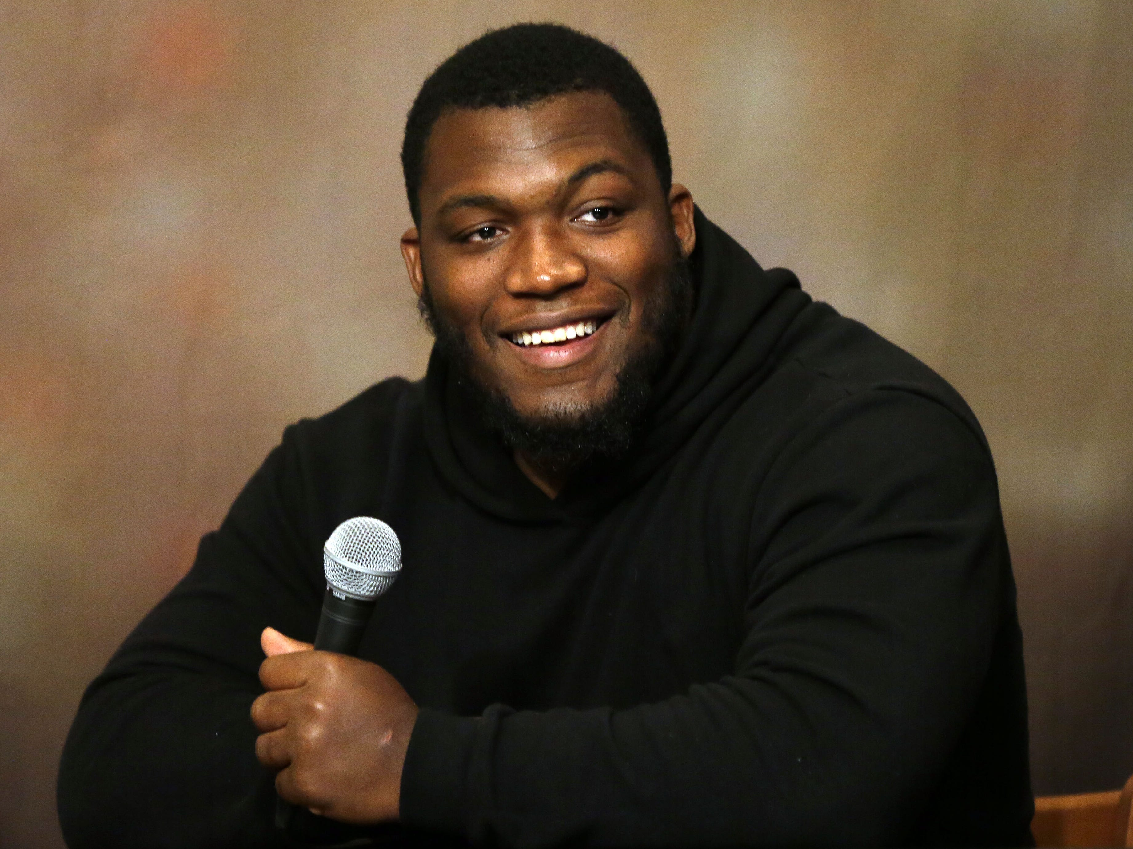 Clubhouse Live co-hosts Brett Christopherson, Ricardo Arguello, Margaret Naczek and Green Bay Packers safety Josh Jones welcome guest Kenny Clark Monday, September 24, 2018, at the Red Lion Hotel Paper Valley in Appleton, Wis.