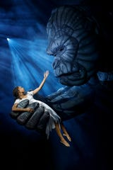 "Christiani  Pitts  as  Ann  Darrow and the title ape in ""King  Kong,"" which hits Broadway this fall."