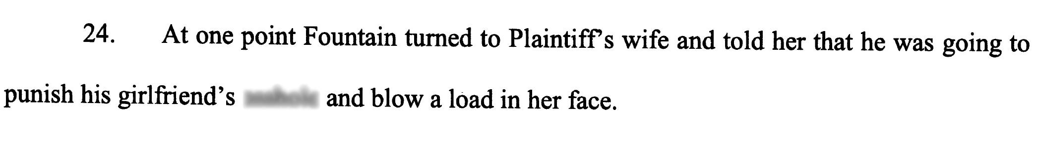 Excerpt from a lawsuit filed by Manalapan Police Officer Edward Hedden alleging retaliation by Police Chief Michael Fountain after he reported this incident.