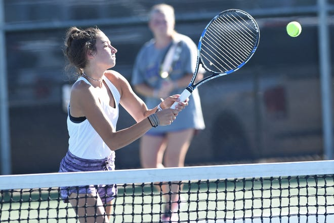 Wylie's Madison Andrews (front) and girls doubles partner Elle Schroeder are two of four senior girls in Wylie's starting lineup. The Bulldogs face Lubbock Monterey at 11 a.m. Tuesday in a Region I-5A bi-district playoff.