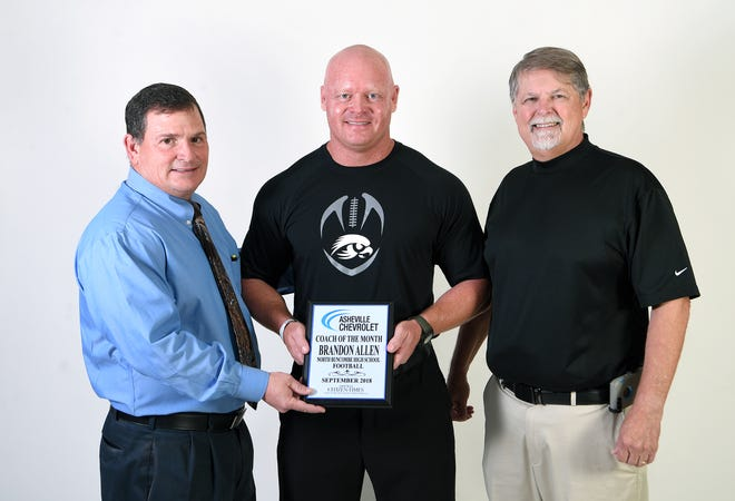 North Buncombe High School football coach Brandon Allen is the coach of the month.