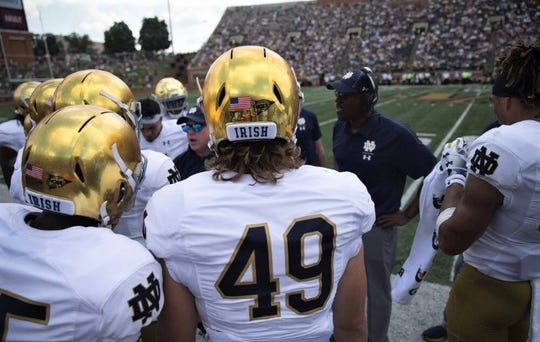 Harper Creek grad Brandon Hutson saw his dream of getting off the sidelines and finally playing for Notre Dame earlier this season in a contest against Vanderbilt.