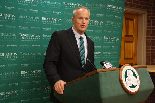 Binghamton University President Harvey Stenger speaks prior to his State of the University address Tuesday afternoon.