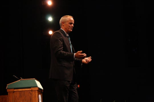 Binghamton University President Harvey Stenger delivers his State of the University address at the Anderson Center's Osterhout Concert Theater on Sept. 25.