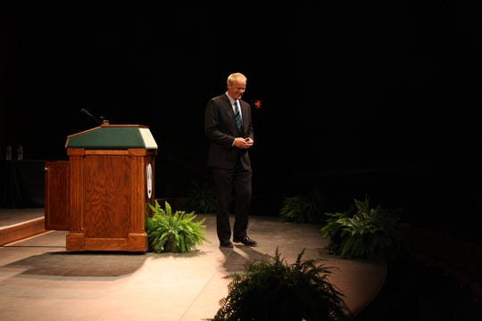 Binghamton University President Harvey Stenger delivers his State of the University address on Sept. 25.