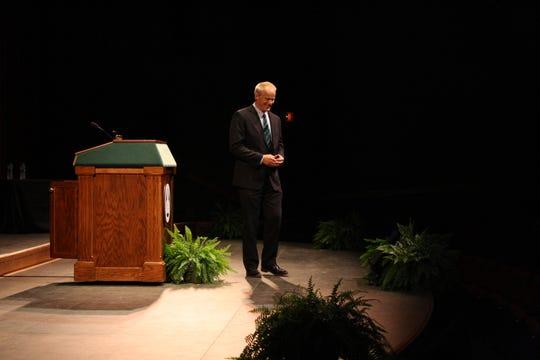 Binghamton University President Harvey Stenger delivers his State of the University address on Sept. 25.