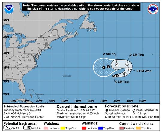 Subtropical Depression Leslie at 5 a.m. Sept. 25, 2018