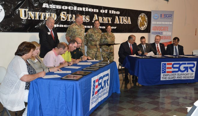 Representatives of the Space Coast business sectors sign pledges of  employer support for military service in the National Guard and Reserve during an event hosted by Melbourne-based Bansbach Easylift of North America Inc..