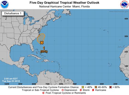 Disturbance 1 as of 2 a.m. Sept. 25, 2018